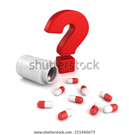 bottle for medical pill tablets with red question mark. 3d render illustration - stock photo