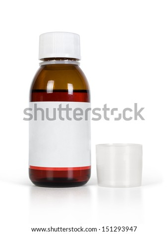 bottle for medicine with caps over white  - stock photo