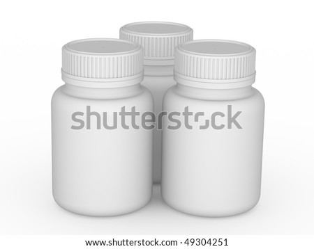 Bottle for tablets on a white background - stock photo