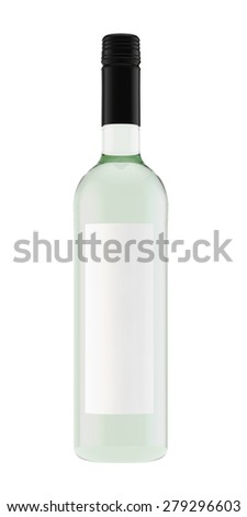 bottle for white wine from light glass with a screw stopper - stock photo