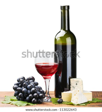 bottle, glass of red wine and ripe grapes isolated on white - stock photo