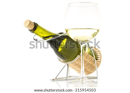 Bottle in holder with glass of  wine isolated on white background - stock photo