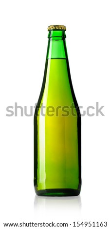 bottle of beer isolated on white. With clipping path - stock photo