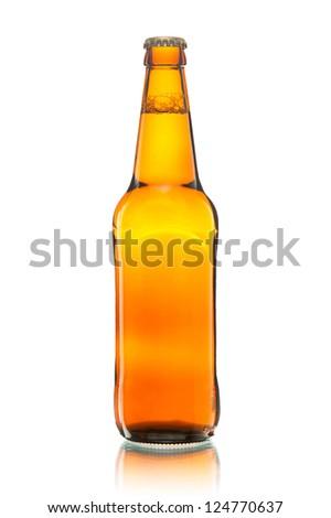 bottle of beer on white - stock photo