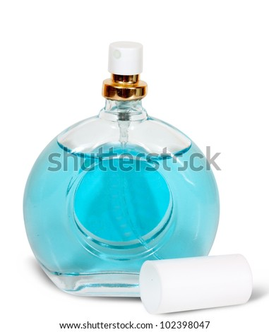 bottle of  blue perfume, shot against white background. - stock photo