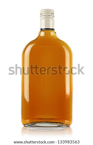 Bottle of brandy on a white background. - stock photo
