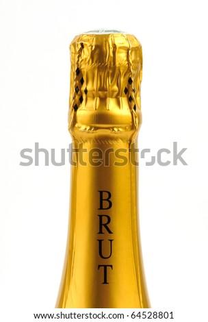 bottle of brut Champagne - stock photo