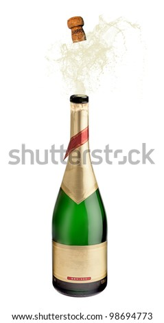Bottle of champagne explosion on white - stock photo
