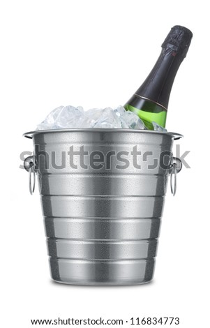 Bottle of champagne in ice bucket isolated on white background - stock photo