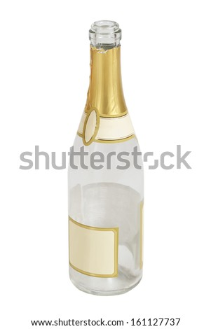 Bottle of champagne isolated on white - stock photo