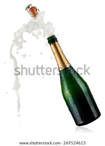 Bottle of champagne pop - stock photo