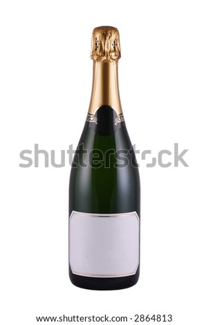 Bottle of Champagne with blank label - stock photo