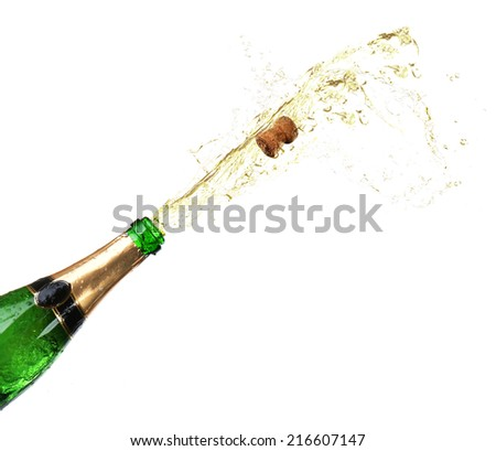 Bottle of champagne with splashes isolated on white - stock photo