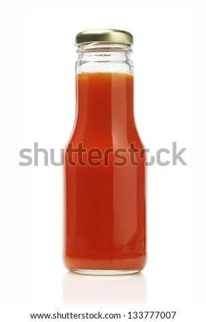 Bottle of Chili Sauce On White Background - stock photo