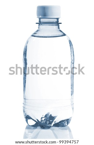 Bottle of clear water isolated on white background - stock photo