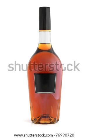 Bottle of cognac (brandy) on a white background - stock photo