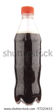 Bottle of cola with drops - stock photo