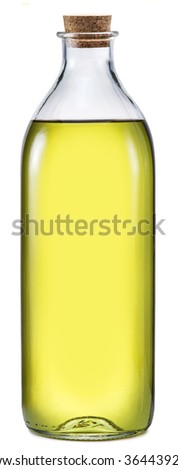 Bottle of extra virgin olive oil on a white background. File contains clipping paths. - stock photo