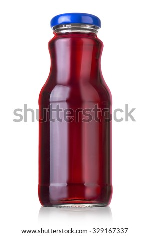 Bottle of juice isolated over white background with clipping path - stock photo