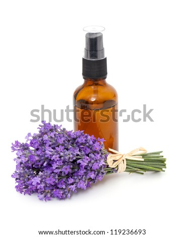 bottle of lavender oil and bunch of lavender flowers - stock photo