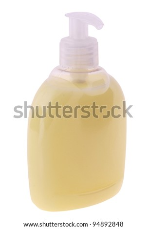Bottle of liquid soap isolated on white. Clipping path included. - stock photo