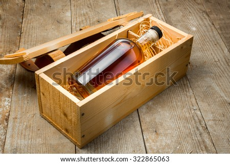 Bottle of liquor aged fine craft whiskey bourbon rum tequila gift package shipping - stock photo