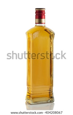 bottle of liquor, drinking on a white background - stock photo