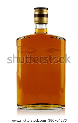 bottle of liquor on a white background - stock photo