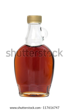 Bottle of maple syrup, isolated on white - stock photo