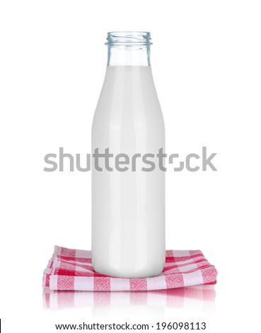 Bottle of milk, isolated on white  - stock photo