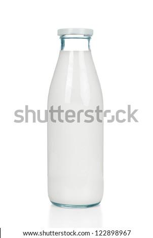 Bottle of milk isolated on white background - stock photo