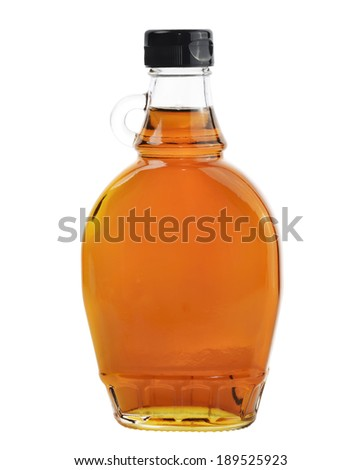 Bottle Of Natural Maple Syrup Isolated On White Background. - stock photo