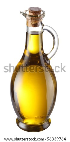 Bottle of olive oil isolated on a white background - stock photo