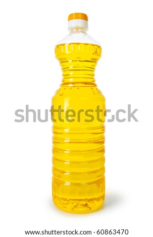 Bottle of olive oil isolated on the white - stock photo