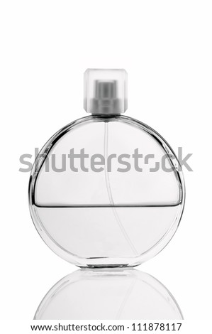 Bottle of perfume on white background.Black and white photo - stock photo