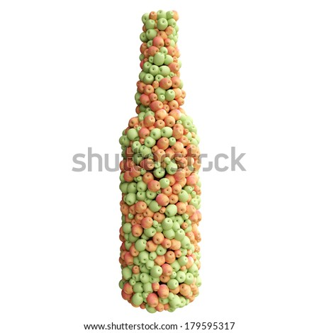 Bottle of red and green apples - stock photo