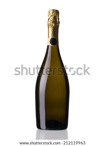Bottle of red champagne. Isolated on a white background. - stock photo