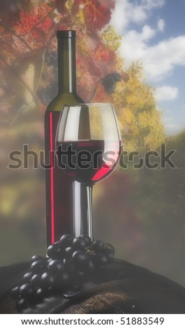 Bottle of red wine and vineyard in the background - stock photo