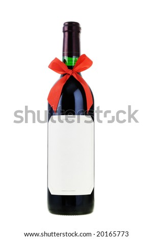 Bottle of red wine decorated with bow ribbon on white - stock photo