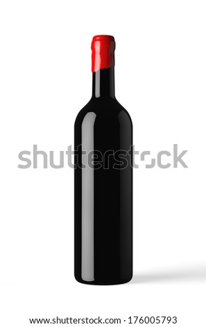 bottle of red wine isolated with wax capsule - stock photo