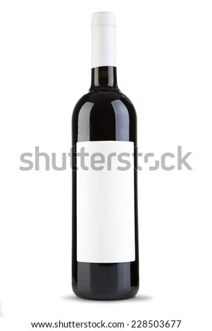 Bottle of red wine on the white background - stock photo
