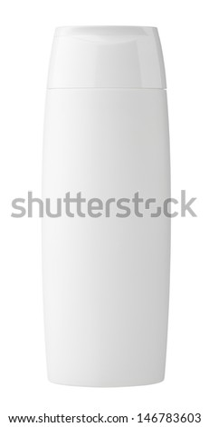 Bottle of shampoo isolated on white with clipping path - stock photo