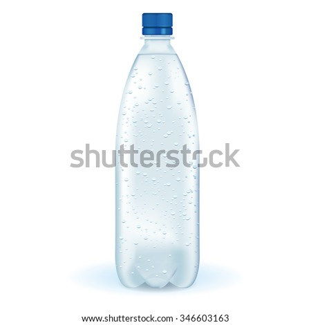 Bottle of sparkling water.  Raster version. Illustration isolated on white. - stock photo