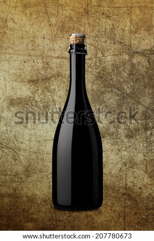 bottle of sparkling wine on background with effects - stock photo