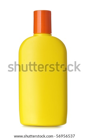 Bottle of sunscreen isolated over the white background - stock photo