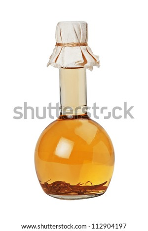 bottle of vegetable oil  isolated on white background - stock photo