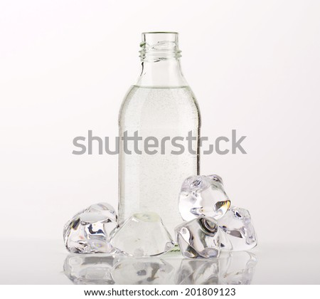 bottle of water and frozen ice cubes - stock photo