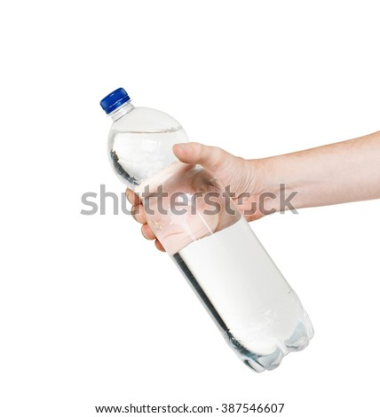 bottle of water in hand isolated on white background - stock photo