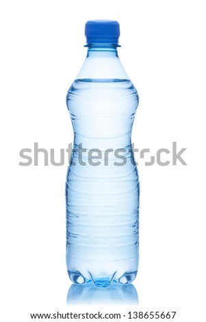 Bottle of water, isolated on the white background, clipping path included. - stock photo