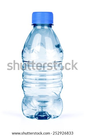 bottle of water isolated on white background - stock photo